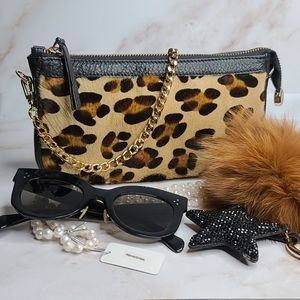 Leopard print calfskin and leather chain